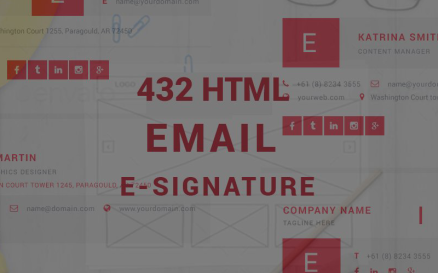 432 PSD-Html Email Esignatures Template Infographic Element