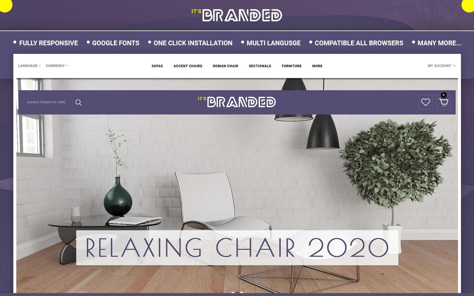 """Branded - Furniture Store"" - адаптивний OpenCart шаблон №152278"