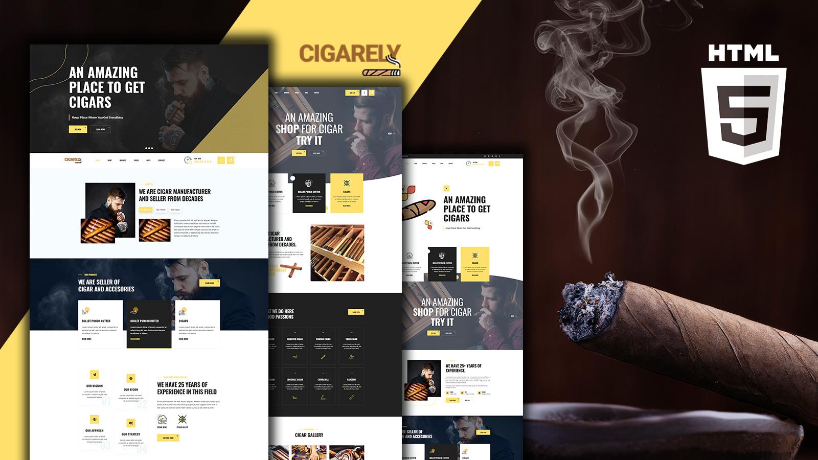 """Cigarely - Cigar Shop"" 响应式网页模板 #152276"