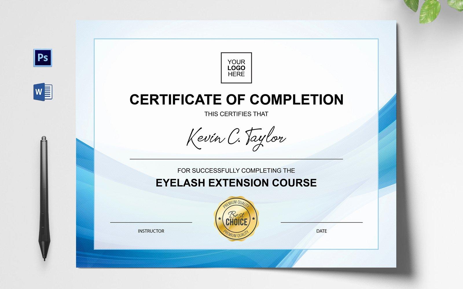 Eyelash Extension Certificate Template 152234