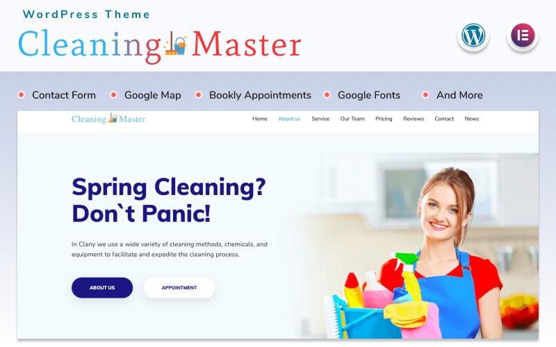 Responsivt Cleaning Master - Landing page WordPress-tema #152279