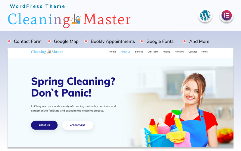 Reszponzív Cleaning Master - Landing page WordPress sablon 152279
