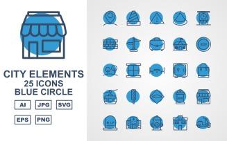 25 Premium City Elements Blue Circle