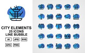 25 Premium City Elements Line Bubble