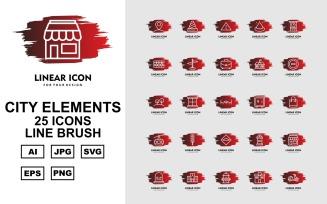 25 Premium City Elements Line Brush