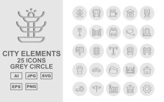 25 Premium City Elements Grey Circle