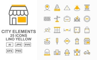 25 Premium City Elements Lino Yellow