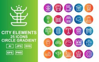 25 Premium City Elements Circle Gradient