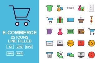 25 Premium E-Commerce Line Filled