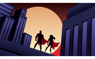 Superhero Couple City Night