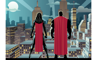 Superhero Couple Watch Night