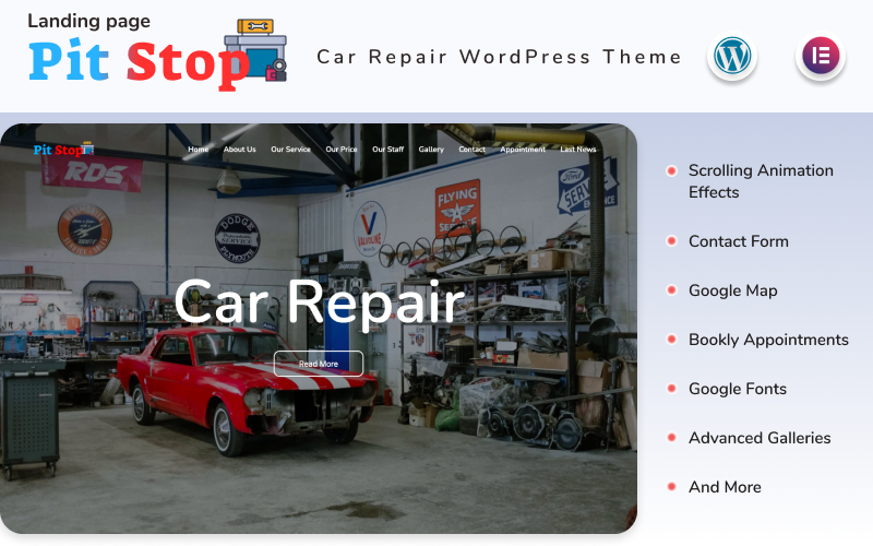 Pit Stop - Car Repair Landing page WordPress Theme