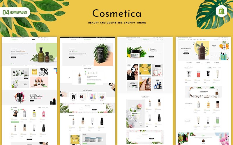 """Cosmetica - Beauty & Cosmetics"" Responsive Shopify Thema №152640"