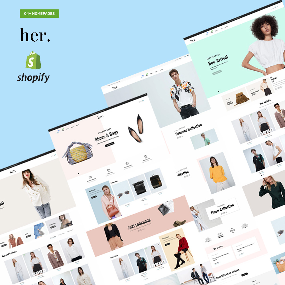 """""""Her Fashion Store - Responsive"""" Shopify Thema №152638"""