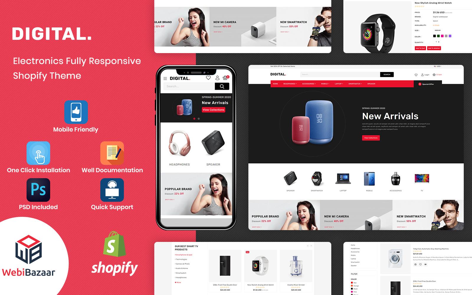 "Modello Shopify Responsive #152636 ""Digital - Multipurpose Electronics"""