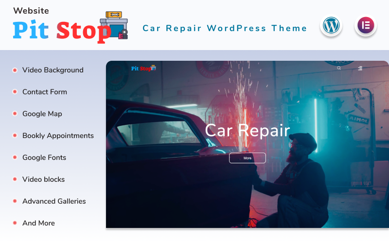 """""""Pit Stop - Car Repair Website"""" Responsive WordPress thema №152642"""