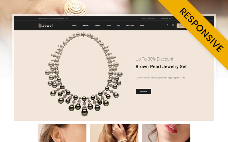 Reszponzív Jewel - Diamond Jewellery Store PrestaShop sablon 152643