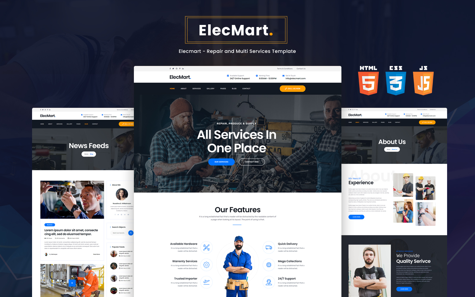 Bootstrap Elecmart - Repair and Multi Services Hemsidemall #153397