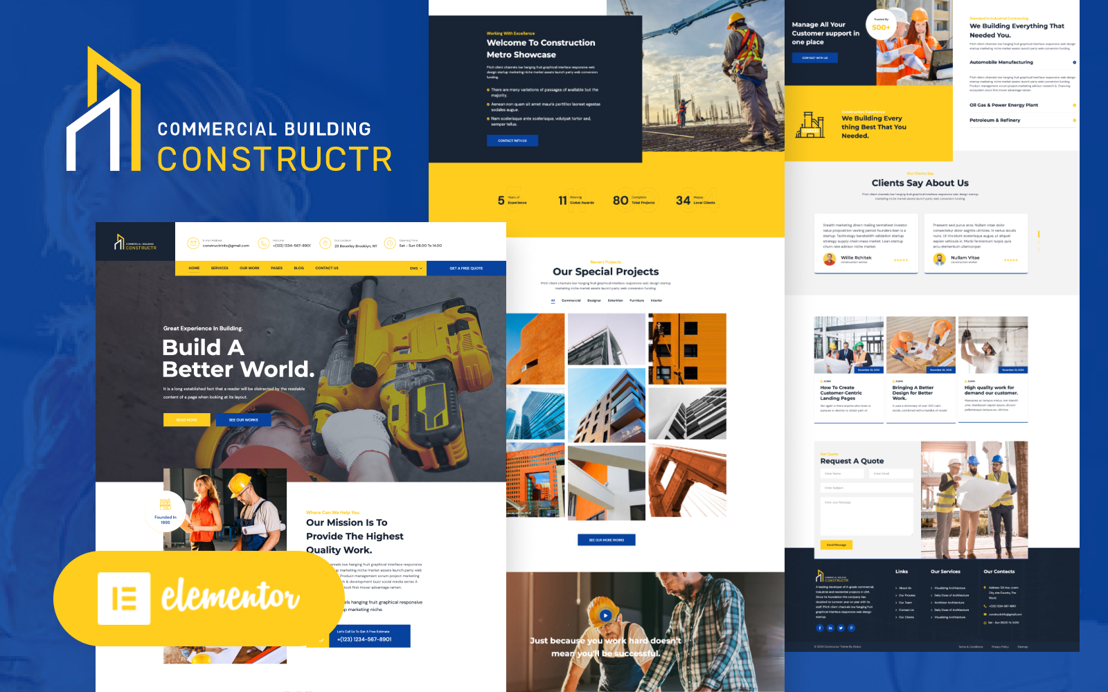 """Constructr - Construction Industry Elementor"" Responsive WordPress thema №153398"