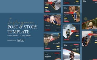 Backpacker Travel Instagram Ads Post and Story Template