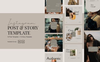 Elegant Beauty Instagram Post and Story Template