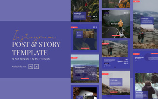 Backpacker Travel Instagram Post and Story Template