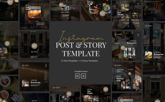 Modern Restaurant Instagram Post and Story Template