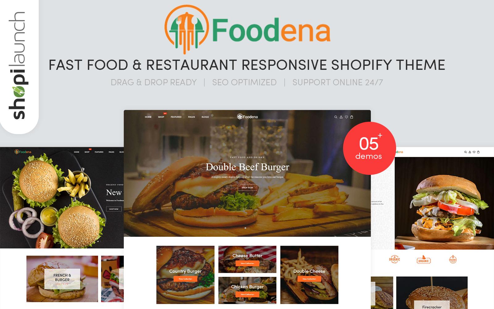 """Foodena - Fast Food & Restaurant Responsive"" Responsive Shopify Thema №153403"
