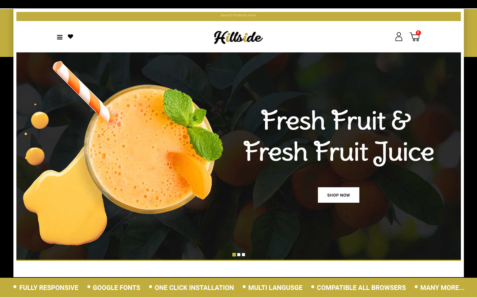 """Hillside - Fruit Store"" - адаптивний OpenCart шаблон №153400"