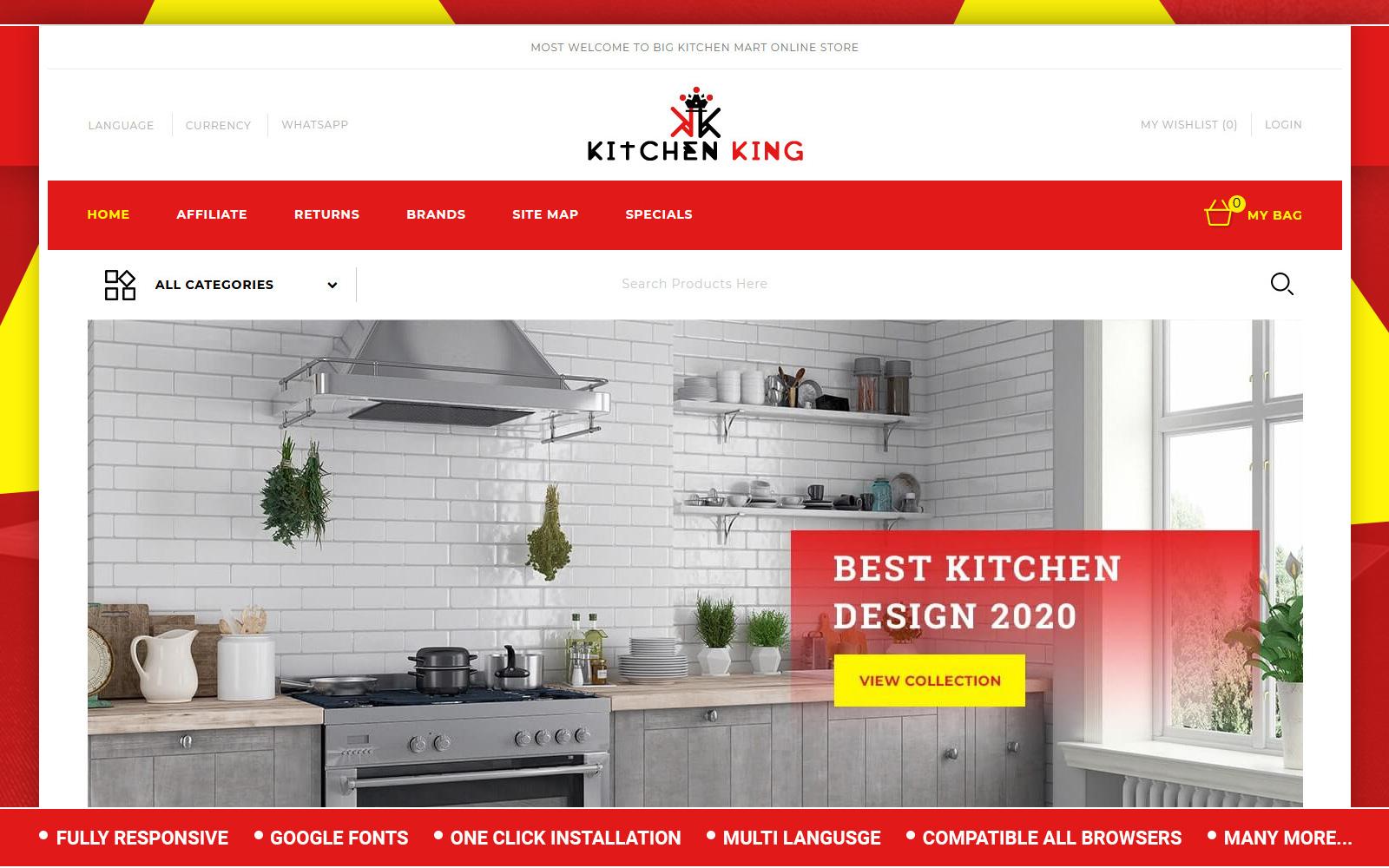 """Kitchenking - Kitchen Store"" - адаптивний OpenCart шаблон №153401"