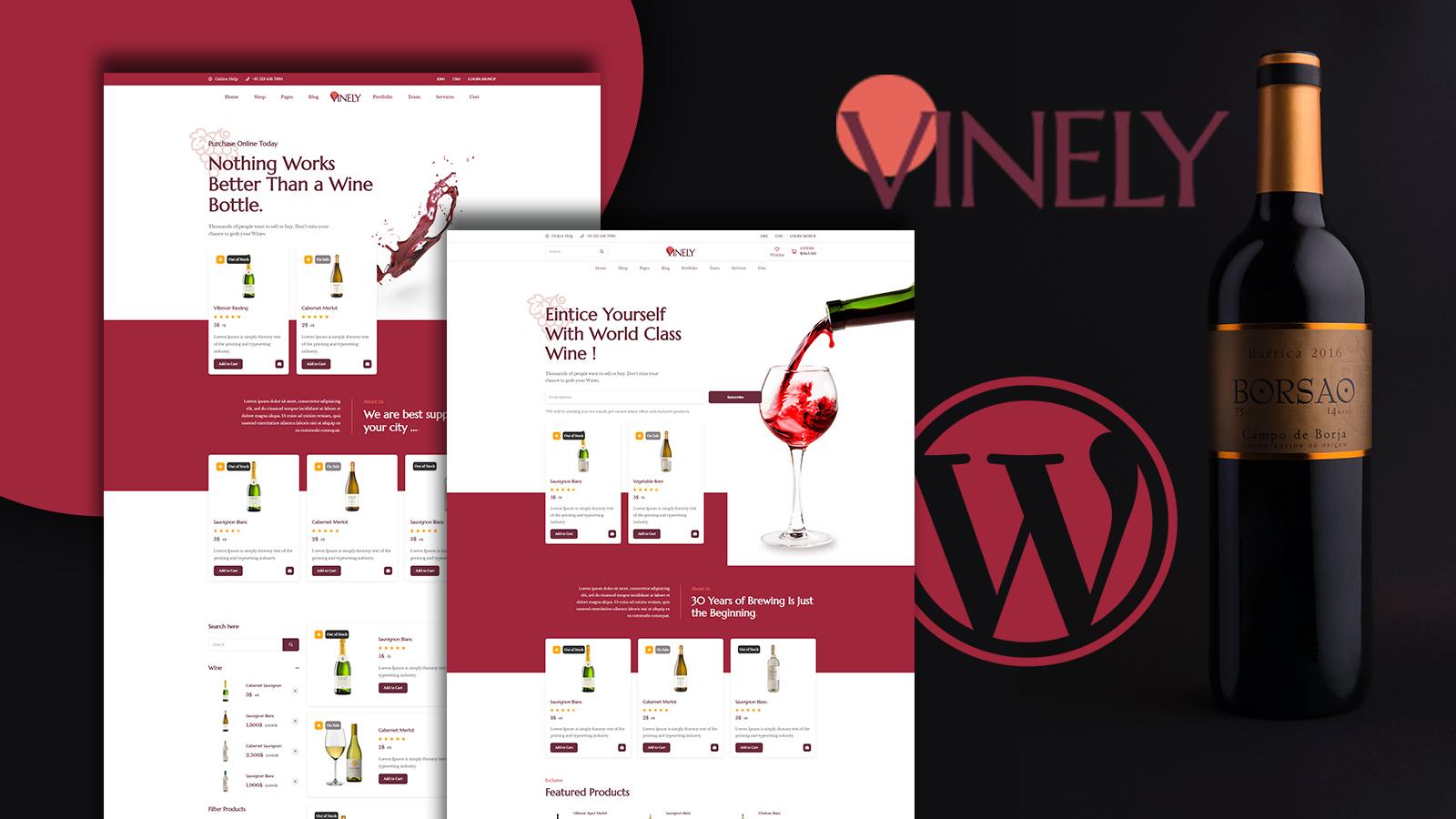 "Tema WooCommerce Responsive #153402 ""Vinely - Wine Shop"""