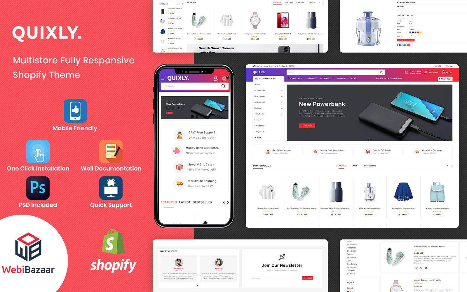 """Quixly - Modern Electronics & Multipurpose"" Responsive Shopify Thema №154099"