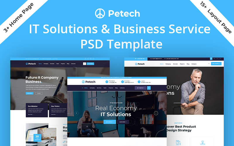Reszponzív Petech IT Solution & Business Service Weboldal sablon 154094