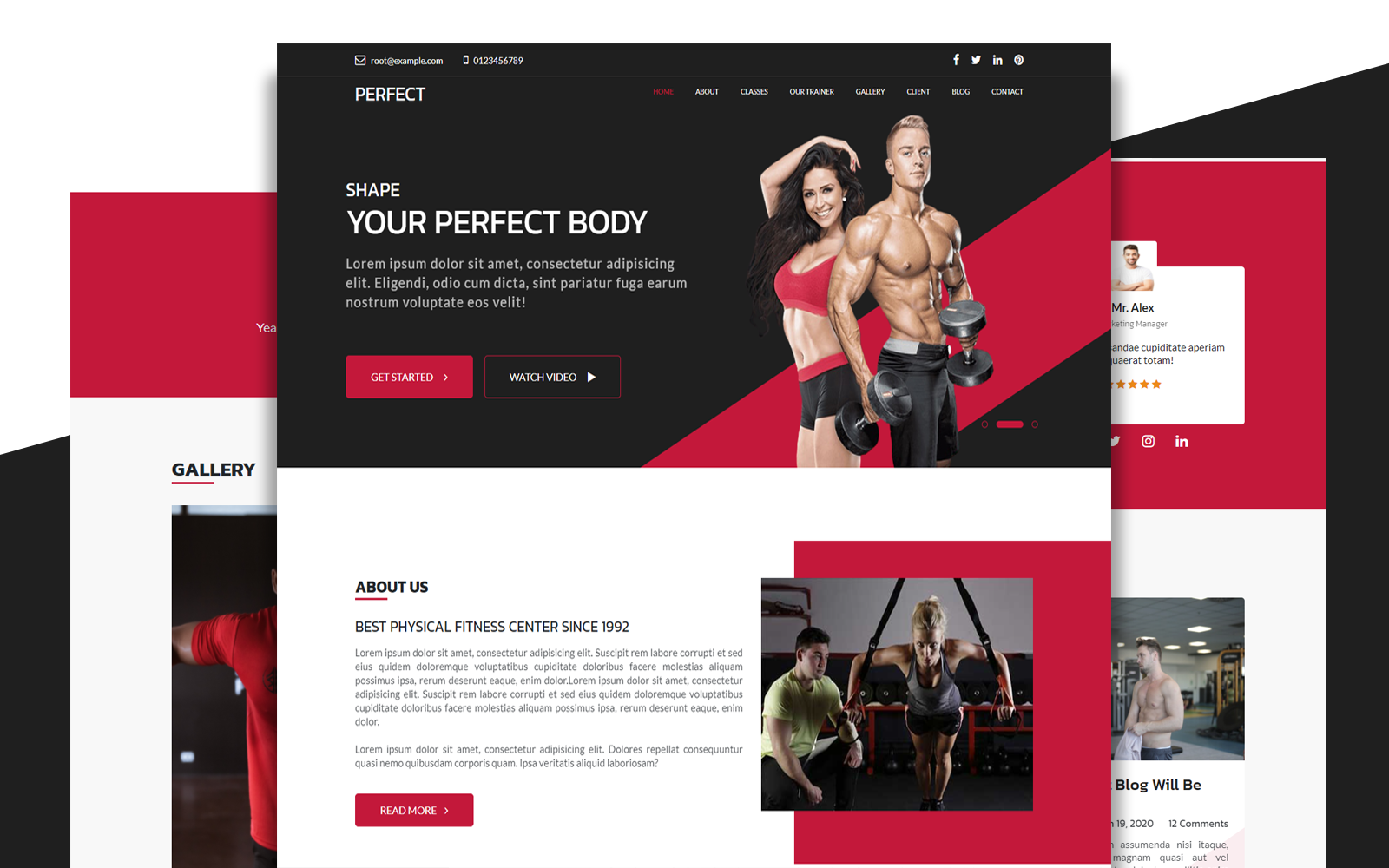 Perfect | Gym Single Modern Bootstrap Responsive Landing Page Template