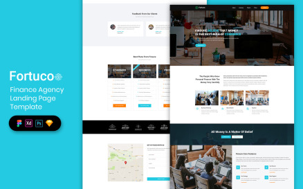 Finance Agency Landing Page Template UI Element
