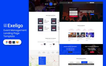 Event Management Landing Page Template UI Element