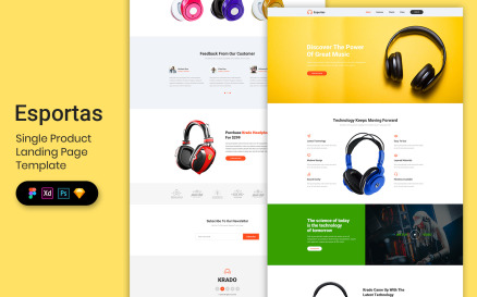 Single Product Landing Page Template UI Element