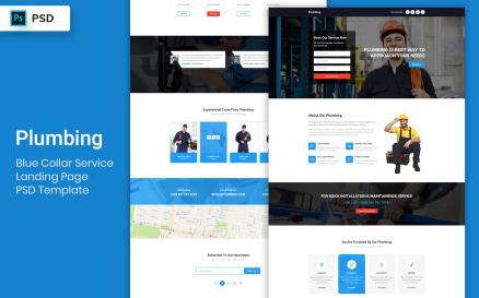 Blue Collar Service Landing Page PSD Template UI Element