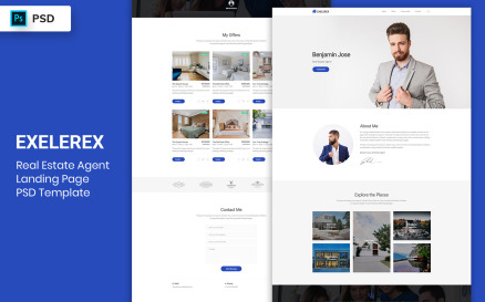 RealEstate Agent Landing Page PSD Template UI Element
