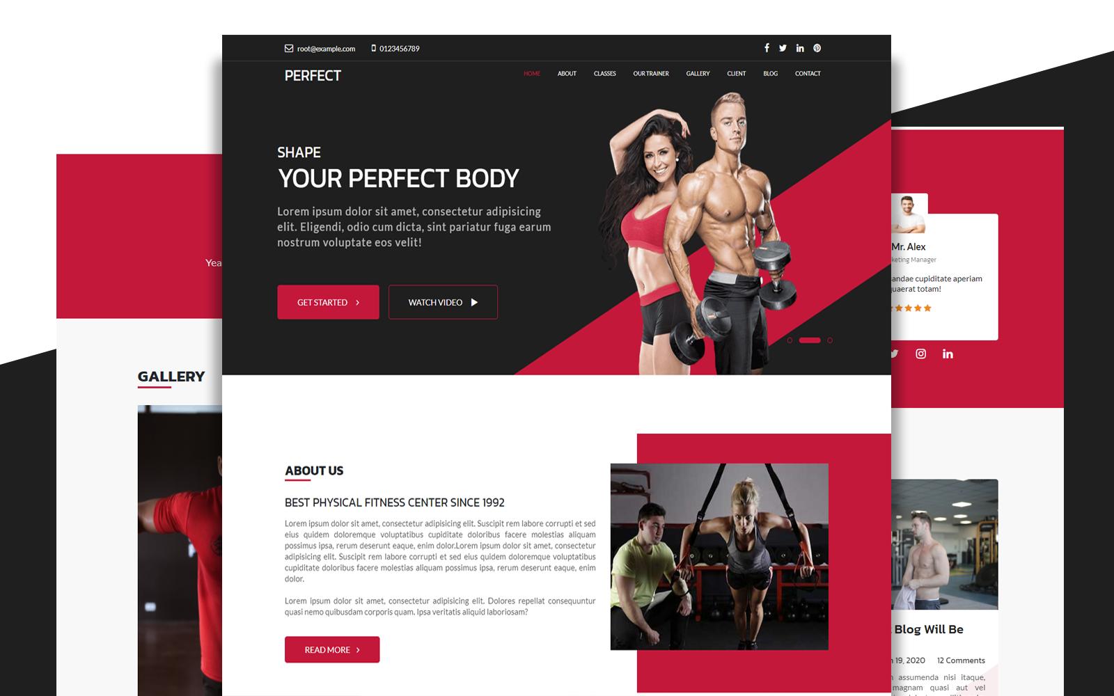 """Perfect | Gym Single Modern Bootstrap Responsive"" 响应式着陆页模板 #154103"