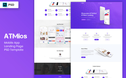 Mobile App Landing Page PSD Template-04 UI Element
