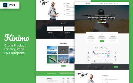 Drone Product Landing Page PSD Template UI Element