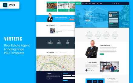 RealEstate Agent Landing Page Template UI Element