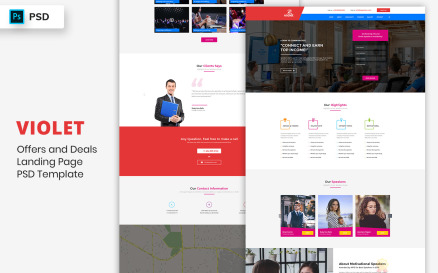Motivational Speakers Landing Page Template UI Element