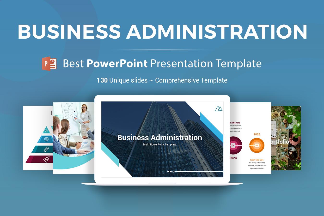 """Luxusní PowerPoint šablona """"Business Administration"""" #154246"""