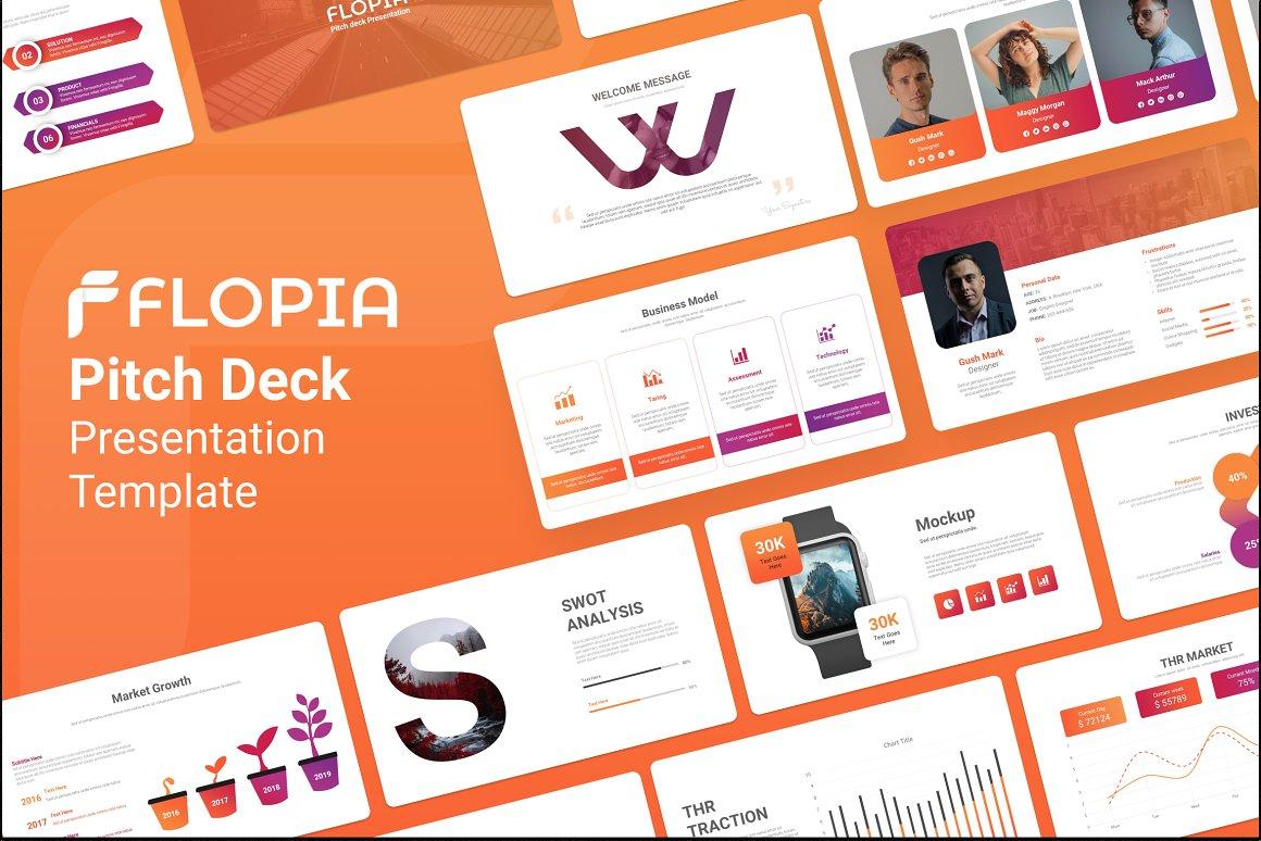 "Plantilla PowerPoint ""Flopia Pitch Deck Presentation"" #154271"