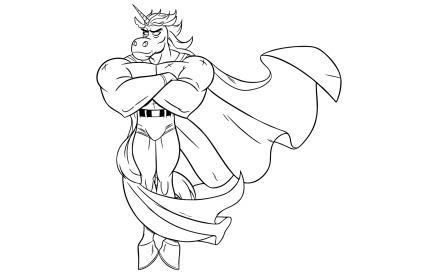 Unicorn Superhero Line Art Illustration