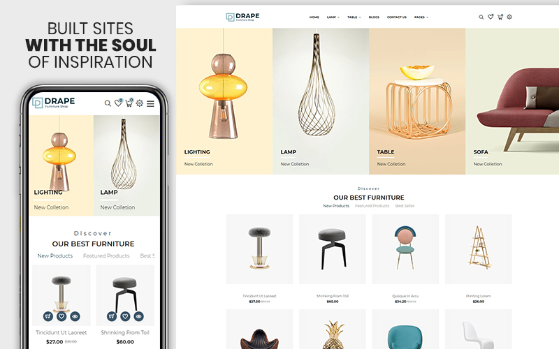 """Drap - Furniture & Interior Bootstrap"" thème Shopify adaptatif #155074"