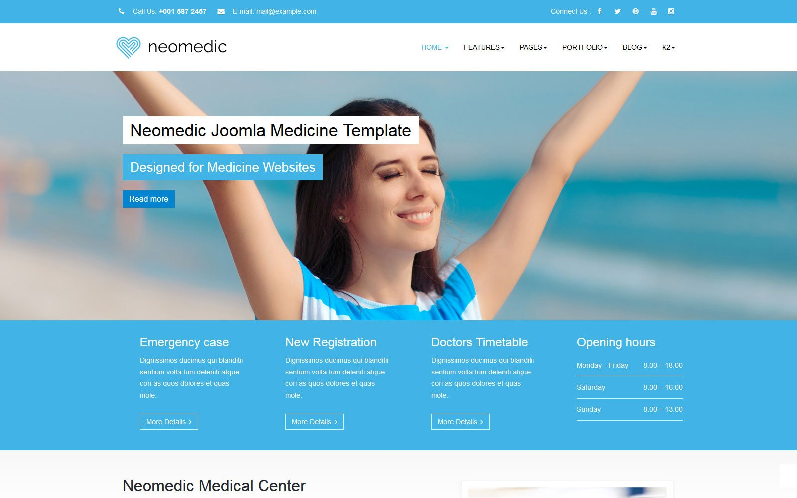 """Neomedic Medical"" Responsive Joomla Template №155079"