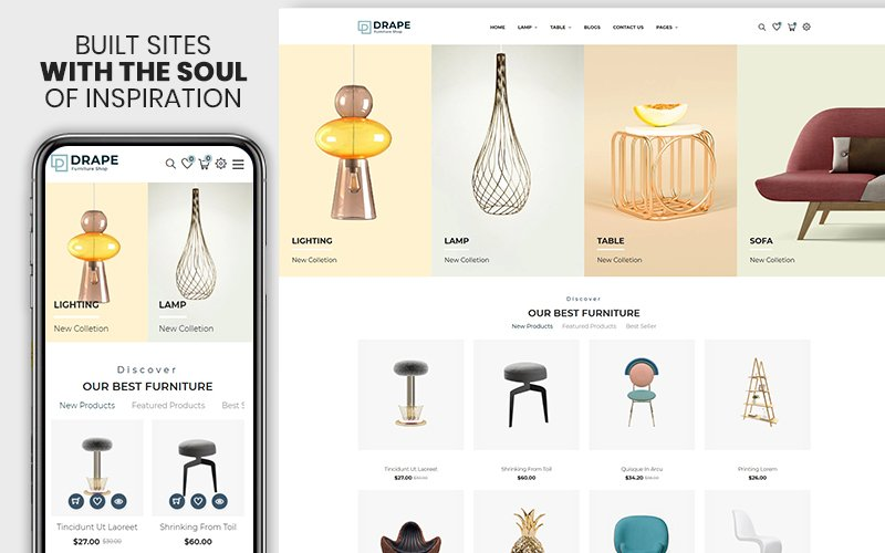 "Tema Shopify ""Drap - Furniture & Interior Bootstrap"" #155074"